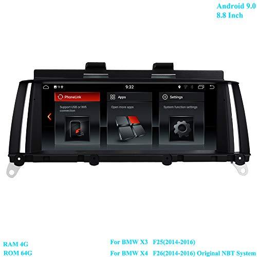 XISEDO Android 9.0 Autoradio RAM 4G ROM 64G 8.8 inch scherm radio met GPS navigatie Android radio voor BMW X3 F25(2013-2016)/ BMW X4 F26(2013-2016) oorspronkelijke NBT-systeem