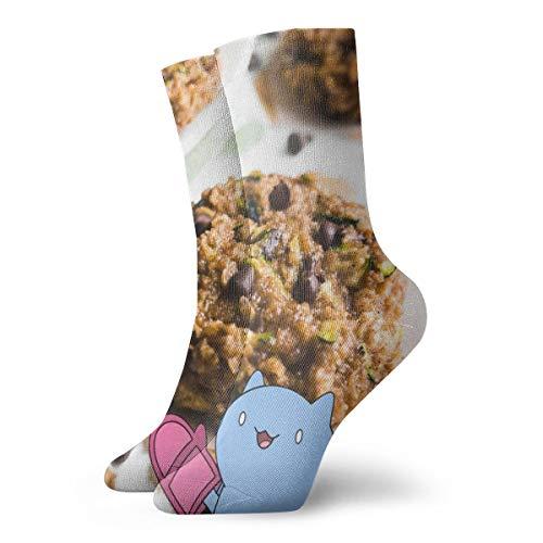 BJAMAJ Unisex Sokken Chocolade Chip Courgette Brood Havermout Cookies Interessant Polyester Crew Sokken Volwassene Sokken Katoen