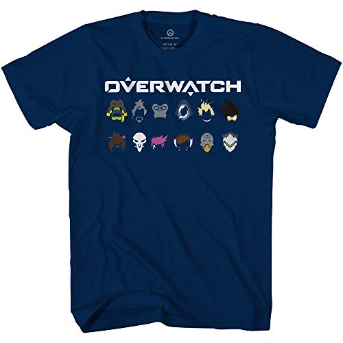 Overwatch Mens Video Game Shirt - The World Needs Heroes - Official T-Shirt (Navy, Large)
