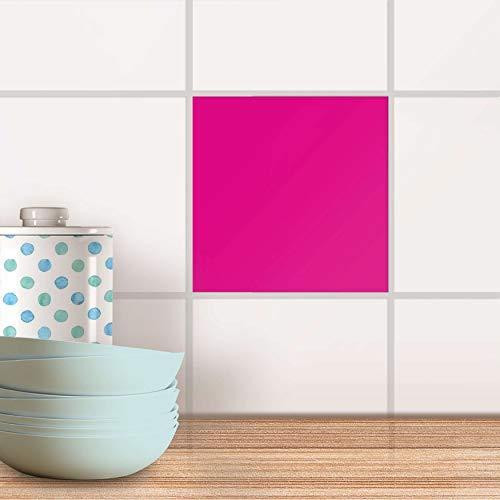 creatisto Küchenfliesen I Klebe-Sticker Aufkleber Folie Fliesen-Dekor Bad-Folie Badgestaltung I 10x10 cm Farbe Pink Dark - 1 Stück