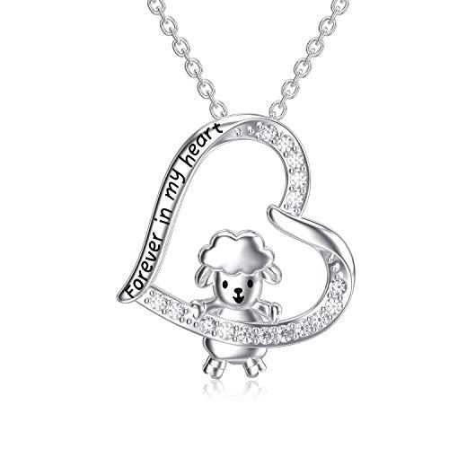 LONAGO Collar de Oveja Plata de Ley 925 Siempre en Mi Corazón Linda Alpaca Colgante Collar Joyería para Mujer