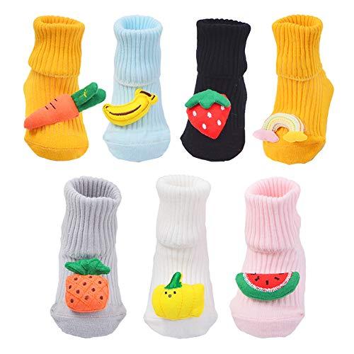 BLBGDD Non-Slip Baby Socks Anti-Skid Sock for Unisex Girls and Boys Newborn Infant 0-24 Months Cotton Socks 7 Pairs