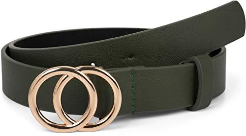 styleBREAKER Cinturón de dama unicolor con hebilla de anillo, cinturón de cadera, cinturón de cintura, cinturón sintético, unicolor 03010093, tamaño:80cm, color:oliva-oro (Ropa)