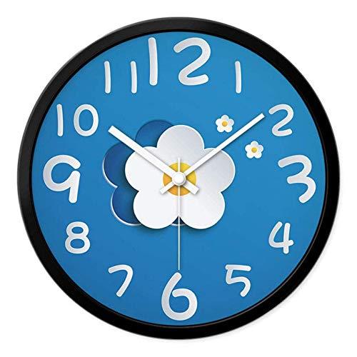DNGDD Reloj de Pared para Interiores Flores Mute Redondo Simple Decoración de Arte Creativo 12 Pulgadas Fuerte y no se daña fácilmente Fácil de Instalar, C, 12 Pulgadas