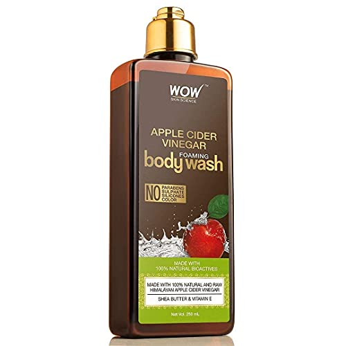 WOW Apple Cider Vinegar Foaming Body Wash - For Cleaner & Smoother Skin - Shea Butter & Vitamin E - For Men & Women - Everyday Use For Sensitive Skin - All Skin Types - Dry Skin Relief - 250ml