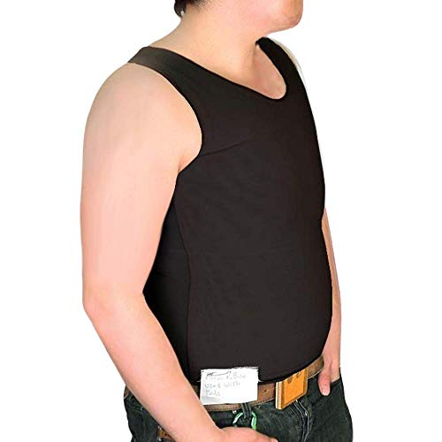 Tranz* Forms at Surgical Bind-Rite Powernet High-Quality Sleeveless FTM Chest Binder Double Panel Front - Black, Medium
