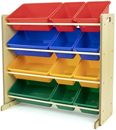 Humble Crew, Natural/Primary Kids' Toy Storage Organizer with 12 Plastic Bins
