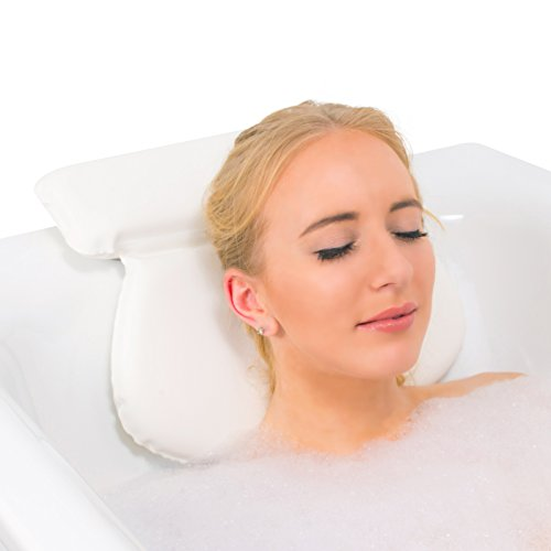 Relux Premium Waterproof Bath Pillow Cushion with Non-Slip Suction Cups Ergonomic Home Spa Headrest