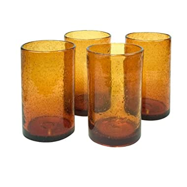Artland Iris Highball Glasses, Amber, Set of 4