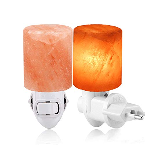 Himalaya zoutlampen draaibaar mini-nachtlampje met lucht reinigen cilinder vorm zout rots wandlamp voor de slaapkamer, het stress vakantiegeschenk, afmeting verminderd: 6 x 6 x 12 cm