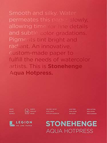 Legion Stonehenge Aqua Watercolor Block , 140 Hot Press, 8 X 24 inches, 15 Sheets, White