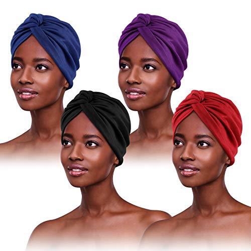 4 Stücke Turban für Damen,Verknotet Turban Tuch Falten-Kopfbedeckung Damen Kopftuch Damen Sommer Turban Mütze Damen Chemo Kopfbedeckung Hut Für Haarverlust Chemo Mit Blume Baumwollmütze, 4 Farben