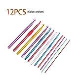 zhouweiwei Juego de Ganchos de Ganchillo con Agujas de Aluminio Multicolores de 12 Piezas con Kit de artesanía de Hilo de Caja 2.0/2.5/3.0/3.5/4.0/4.5/5.0/5.5/6.0/6.5/7.0/8.0mm