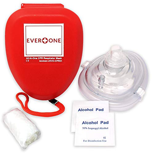 EverOne CPR Rescue Mask, Adult/Child Pocket Resuscitator, Hard Case with Wrist Strap + Gloves & Wipes