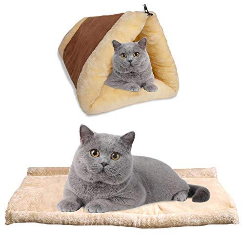 BRKURLEG Selbstheizende Decke für Katzen & Hunde, Größe: 90x59cm, Innovative & Umweltfreundliche Wärmematte, 2 in 1 Tube Cat Matte und Bett groß Pet Bett