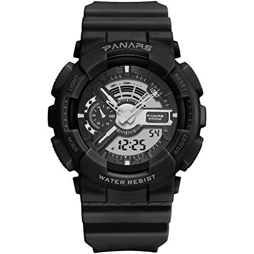 Panars Relojes de Moda Hombres G LED Digital Choque Impermeable del Deporte del Reloj de los Militares al Aire Libre Correr Cronómetro Reloj de Pulsera for Hombre Relojes (Color : Negro)