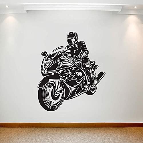 Decalcomania della parete del motociclo Casco del motociclista del motociclista Adesivo per finestra in vinile Camera da letto per adolescenti Auto Club Garage Interior Arte decorativa murale Art
