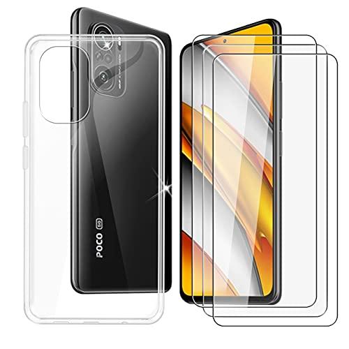 DYSu Funda para Xiaomi Poco F3 (6.67') + 3 Piezas Cristal Templado, Carcasa Suave Transparente TPU Silicona Case Caso Cover y 9H Protectora Pantalla Glass Film Protector de Pantalla - Clear