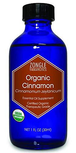 Zongle USDA Certified Organic Cinnamon (Leaf) Essential Oil, Safe to Ingest, Cinnamomum Zeylanicum, 1 OZ