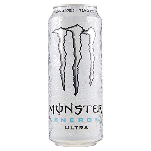 48x Monster Energy Ultra Zero Zuccheri Zero Calorie Energiegetränk ohne zucker null Kalorien Leichter Geschmack, nicht zu süß, prickelnd und zitrisch 500ml Getränk Erfrischungsgetränk Sportgetränk