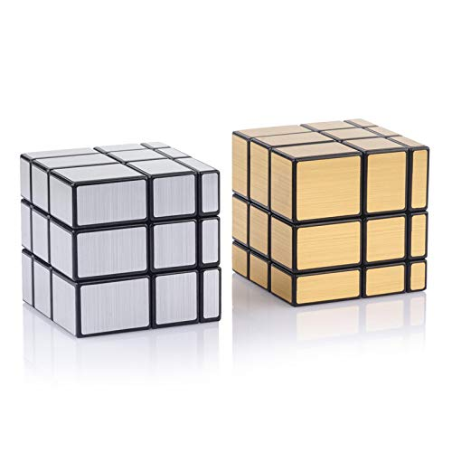 D-FantiX Shengshou Mirror Cube 3x3 Set, Mirror Blocks 3x3x3 Mirror Speed Cube Bundle Mirrored Cube Puzzle Silver Gold Pack of 2