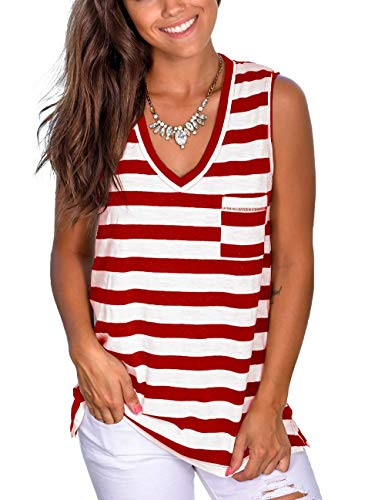 Sleeveless Shirts for Women Casual V Neck Tank Tops Workout Tees Red XL