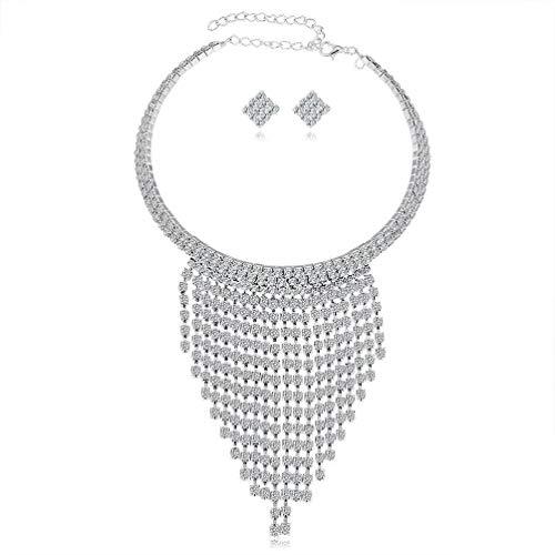 Conjunto de joyería para mujer para boda, colgante de lágrima de cristal, collar y pendientes para vestido de novia, vestido de novia, vestido de graduación, joyería de plata