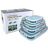 Faltbare Silikon Lebensmittel Aufbewahrungsbehälter mit Deckel, tragbare Lunch Bento Box, Picknick Box, platzsparend, mikrowellen, spülmaschinen und gefriergeeignet, 4er-Set (blau und grau)