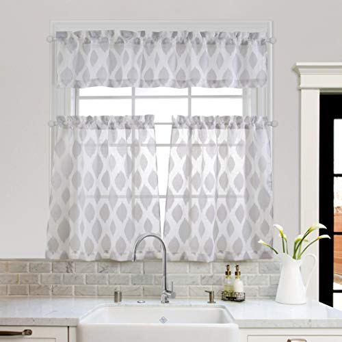 MYSKY HOME Fashion 3 Pieces Jacquard Kitchen Sheer Tier Curtains and Valance Set, Grey