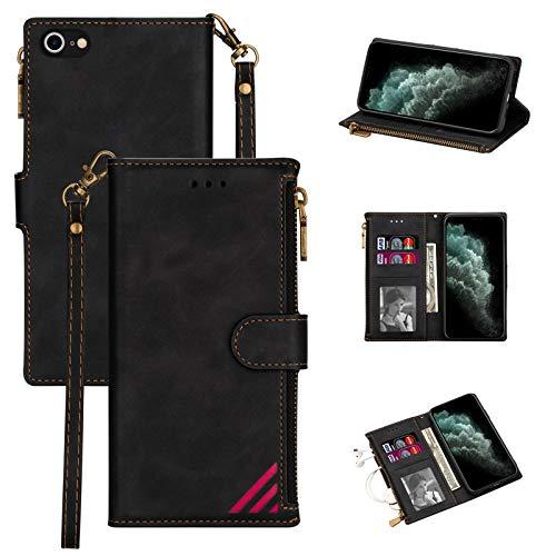 LOLFZ Funda para iPhone 7 Plus, para iPhone 8 Plus, de piel prémium, con tarjetero, cierre magnético, color negro