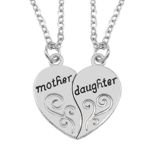 LnLyin Mother and Daughter Love Heart Words Pendant Necklace Jewelry for Mother's Day Gift 1Pair
