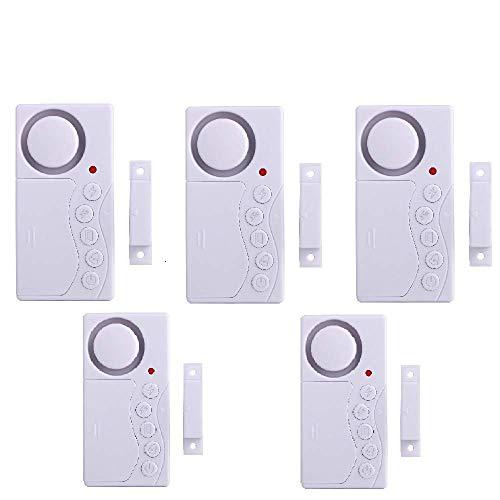 ECTECH 5er Set Tür Fenstersensoren Alarm,Drahtlose Home Security Alarmanlage - Sirene mit 105dB Lautstärke
