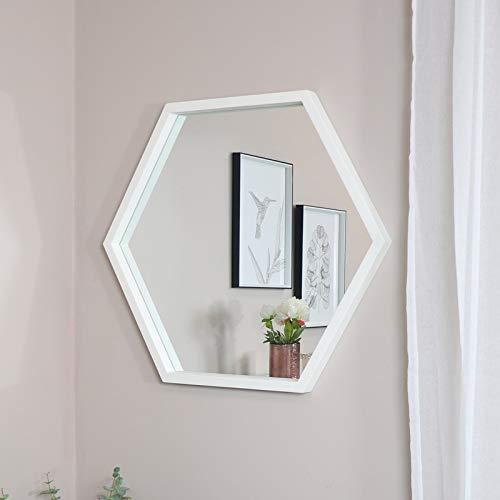 Melody Maison - Specchio esagonale grande, colore: Bianco