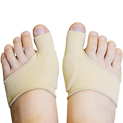 Zinyakon protectores de juanetes, 4 paquetes de almohadillas para juanetes para hombres y mujeres, escudos correctores de tela para aliviar el dolor de juanetes, calcetines para juanetes
