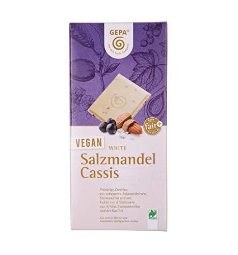 GEPA Bio Vegan White Salzmandel Cassis Schokolade - 1 Karton ( 10 x 100g )