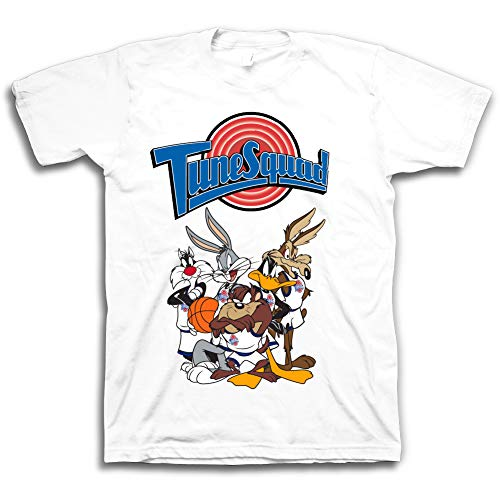 space jam Mens Classic Shirt - Tune Squad Marvin & Bugs Bunny Tee 90's Classic T-Shirt (White, XXL)