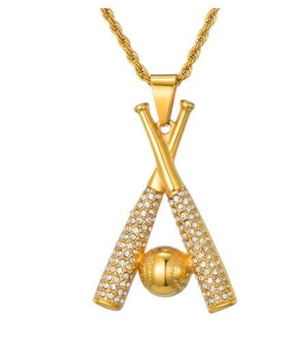 n a HIP Hop Kette Edelstahl Baseball Bling Iced Out Gold Farbe Anhänger & Halsketten für Männer Schmuck Dropshipping