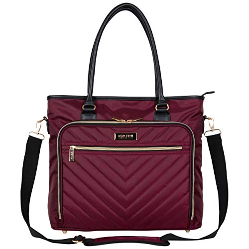 Kenneth Cole Reaction Chevron 15' Laptop & Tablet Business Tote with Removable Shoulder Strap, Burgundy, One Size