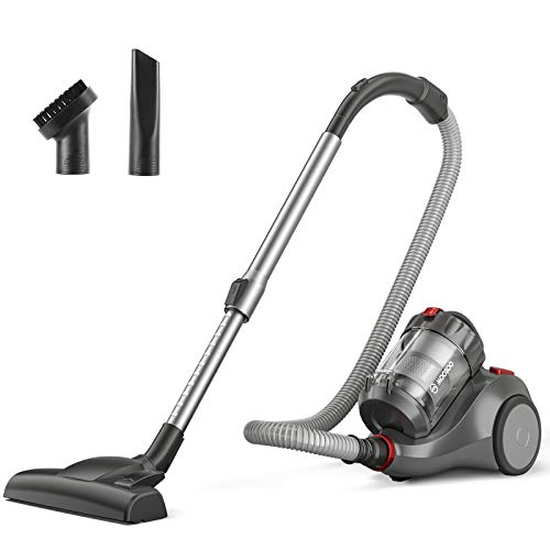 MOOSOO Bagless Canister Vacuum Cleaner, Pet Friendly Lightweight 19Kpa Powerful Vacuum with Cyclone & HEPA Filtration, 1.5L Dust Cup, 2 Cleaning Tool Easy Clean for Hard Floor or Carpet - MS155