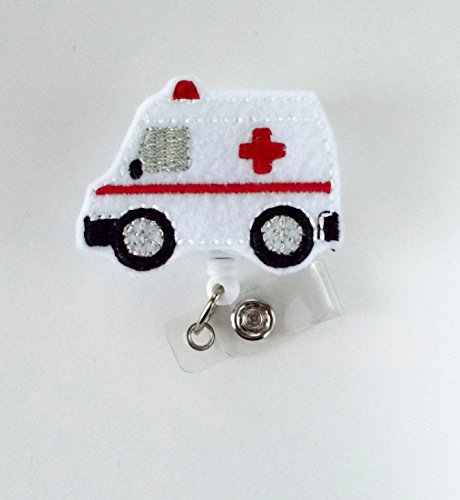 Ambulance - Retractable Badge Reel - Emergency Services Badge Holder -EMT Badge Holder - EMT Badge Clip - Felt Badge - Medical Badge