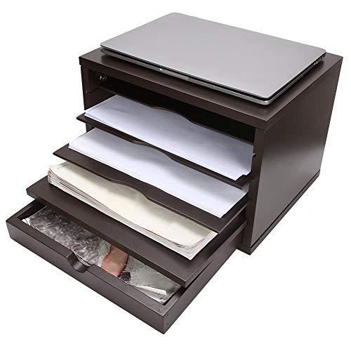 Organizador de escritorio de 5 niveles, bandeja de almacenamiento de papel, clasificador de archivos, organizador de escritorio de madera para oficina en casa, negro, 34 x 26,9 x 23,9 cm