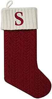 2036d1510f6 St. Nicholas Square 21 Inch Cable Knit Monogram Christmas Stocking ( Embroidered S)