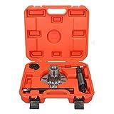 ECD Germany Extractor hidráulico de cubos de ruedas extractor hidráulico de árbol de transmisión 10 T 96-125 mm - para 4 y 5 agujeros - Rojo - Ejes de accionamiento hidráulico set herramientas