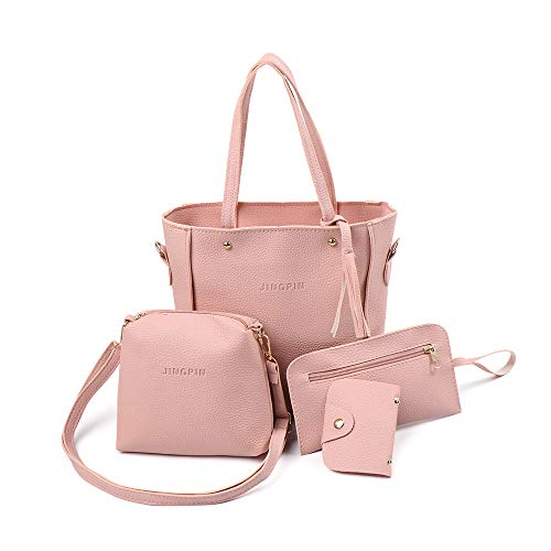 4Pcs New Leather Messenger Satchel Portable Shoulder Bags Woman Bag Set Tote Purse Female Handbag(pink)