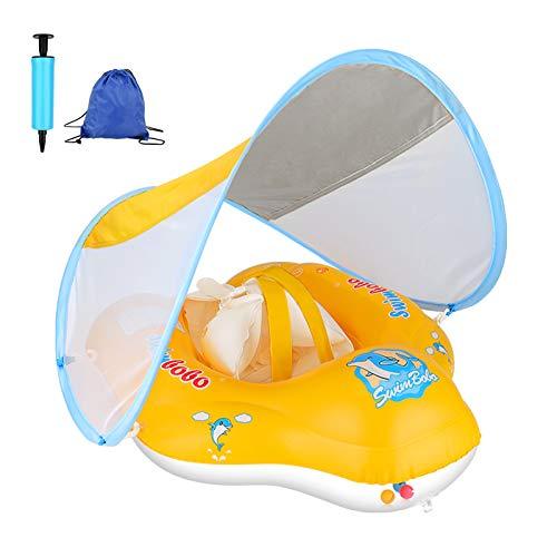 Flotador flotador para bebé con toldo extraíble, flotador con protección solar, juguete para niños de 6 a 36 meses (bolsa de transporte/bomba de aire)
