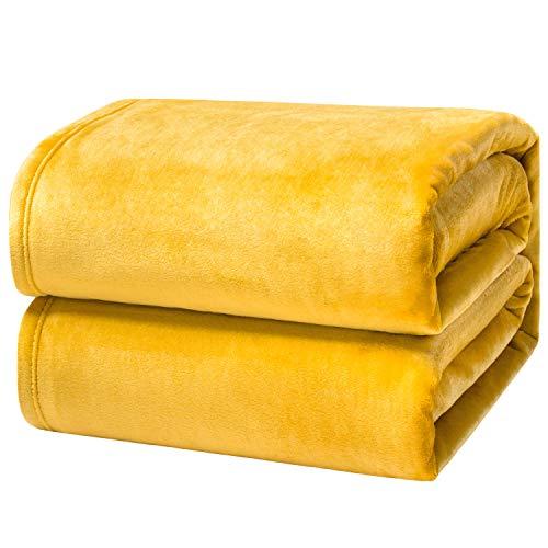 Bedsure Kuscheldecke Gelb XXL Decke Sofa, weiche& warme Fleecedecke als Sofadecke/Couchdecke, kuschel Wohndecken Kuscheldecken, 220x240 cm extra flaushig und plüsch Sofaüberwurf Decke