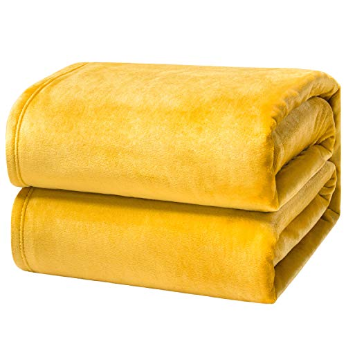 Bedsure Manta para Sofás de Franela 230x270cm - Manta para Cama 180 Reversible de 100% Microfibre Extra Suave - Manta Mostaza Amarillo Transpirable