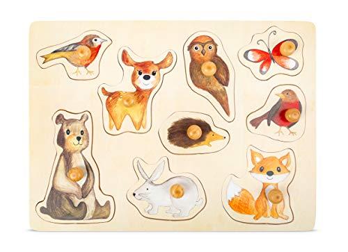 Small Foot 11499 Setzpuzzle Waldtiere aus Holz mit niedlichen Tier-Motiven, Puzzle für Kleinkinder ab 12 Monaten Spielzeug, Mehrfarbig
