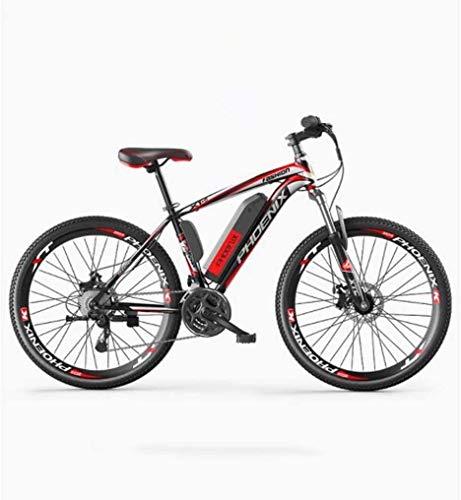 MU Bicicleta eléctrica de montaña de 26 pulgadas para adultos, todoterreno, 27 velocidades, 36 V 50 km, batería pura de iones de litio desmontable, una eléctrica de 40 km/h, híbrida de 90 km