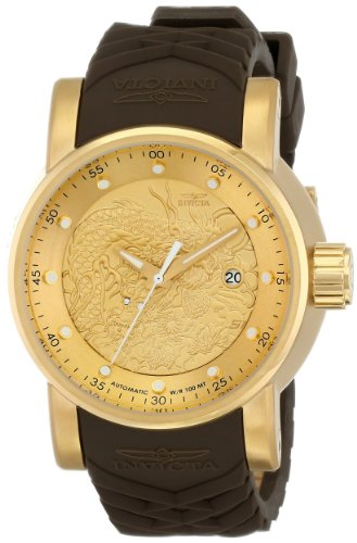 Invicta Mens 12790 S1 Rally Yakuza Automatic Goldtone and Brown Rubber Watch